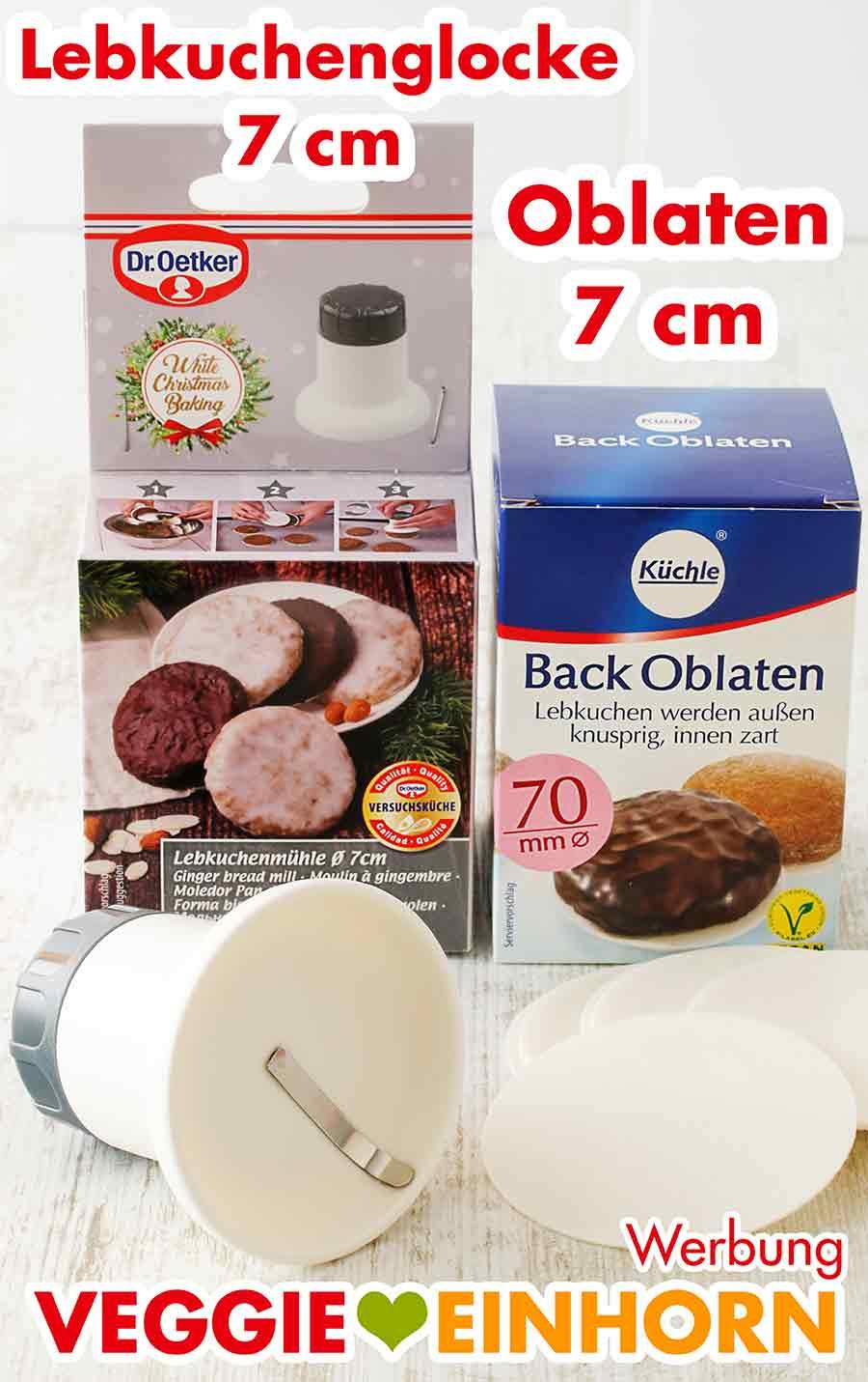 Lebkuchenglocke 7 cm von Dr. Oetker und Backoblaten 70 mm von Küchle