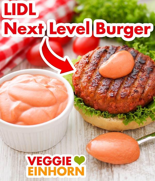 Next Level Burger von Lidl mit veganer Burger Sauce