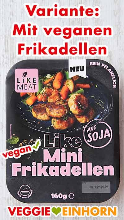 Eine Packung vegane Mini Frikadellen von Like Meat