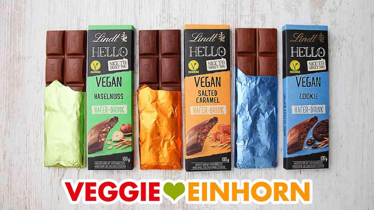 Drei Tafeln vegane Schokolade von Lindt Hello