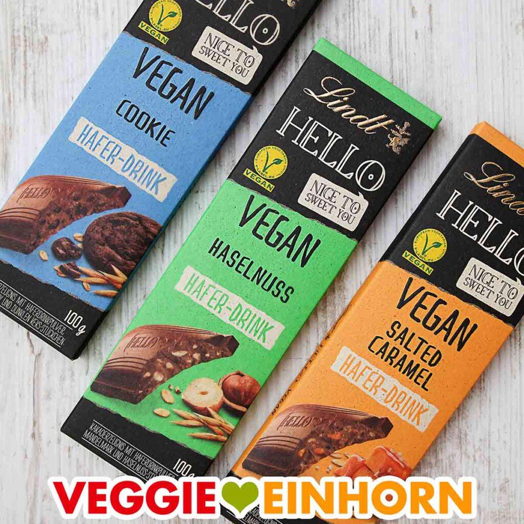 Drei Sorten vegane Schokolade von Lindt Hello