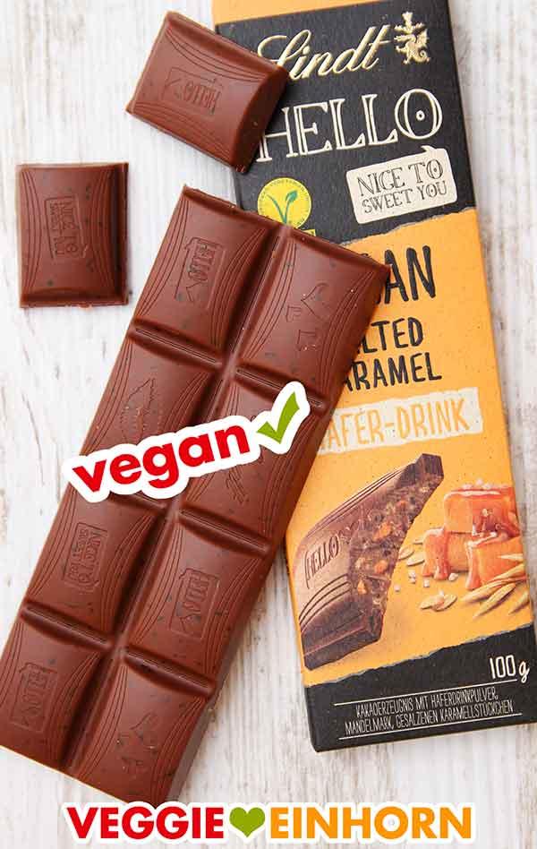 Lindt Hello vegan Salted Caramel Schokoladentafel
