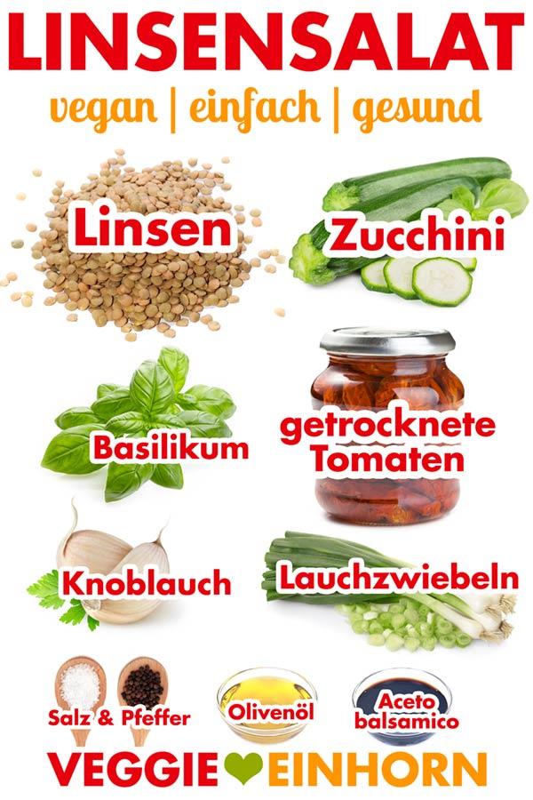 Zutaten für Linsensalat