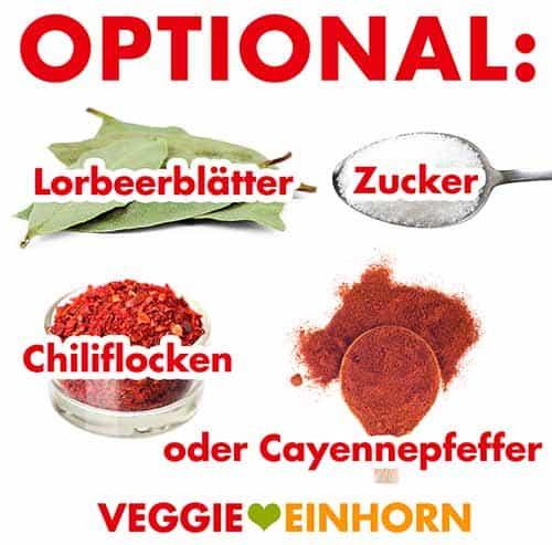 Lorbeerblätter, Zucker, Chiliflocken, Cayennepfeffer