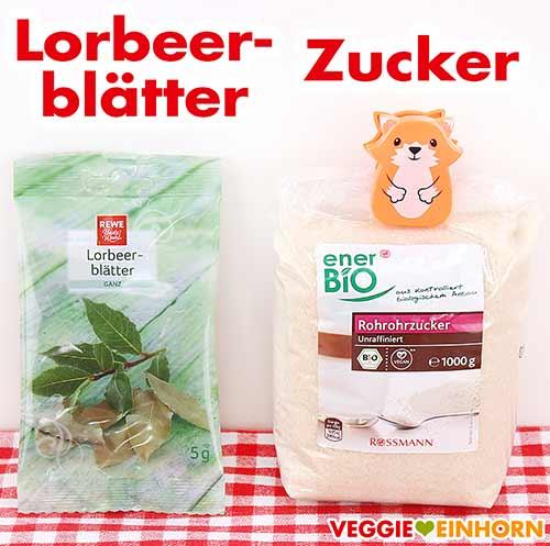 Lorbeerblätter und Zucker