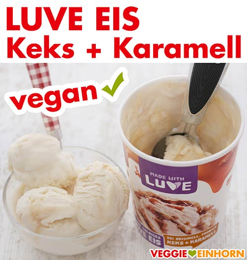 Veganes Luve Eis Keks und Karamell