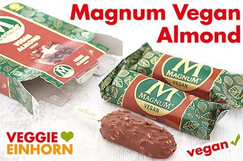 Drei Stück Magnum Vegan Almond Eis in einer Packung