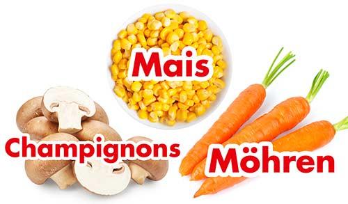 Champignons, Mais, Möhren