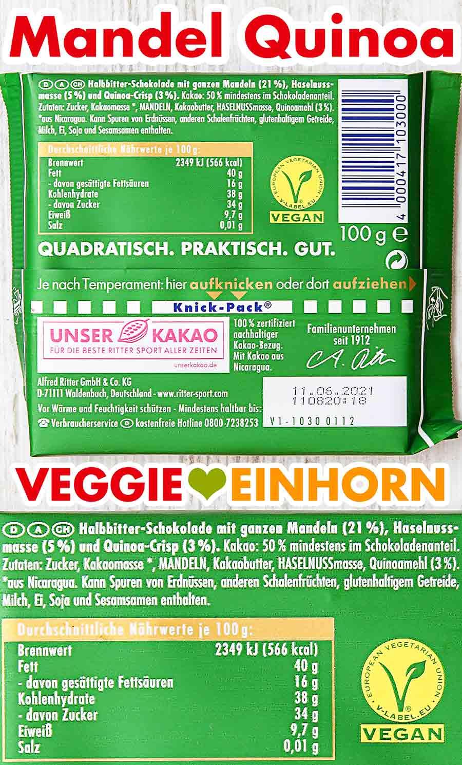 Rückseite der Verpackung Mandel Quinoa Schokolade von Ritter Sport