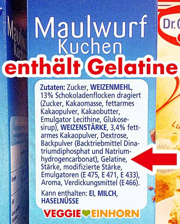 Zutaten Dr Oetker Maulwurfkuchen Backmischung mit Gelatine