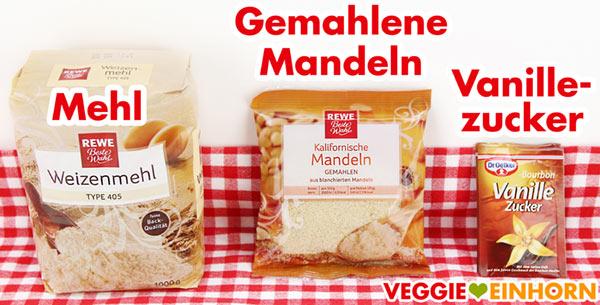 Mehl, gemahlene Mandeln, Vanillezucker