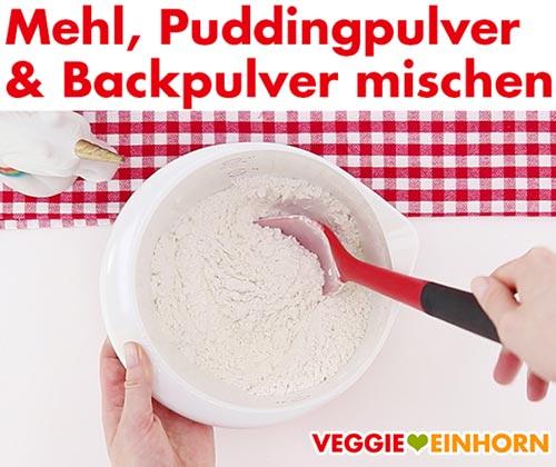 Mehl, Vanille-Puddingpulver, Weinstein-Backpulver