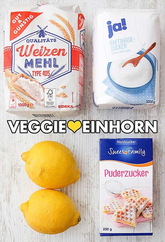 Mehl, Zucker, frische Zitronen, Puderzucker