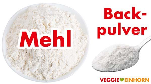 Mehl und Backpulver für Apfelbrot