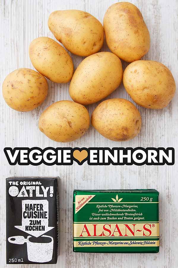 Mehlig kochende Kartoffeln, Hafersahne, vegane Alsan-S Margarine