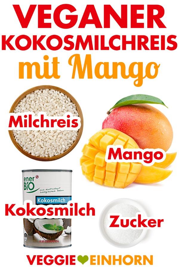 Milchreis vegan Kokosmilch Mango | Einfaches veganes Rezept