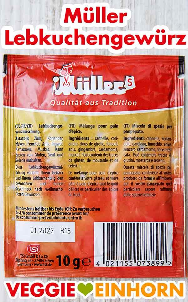 Rückseite der Packung Lebkuchengewürz von Müller