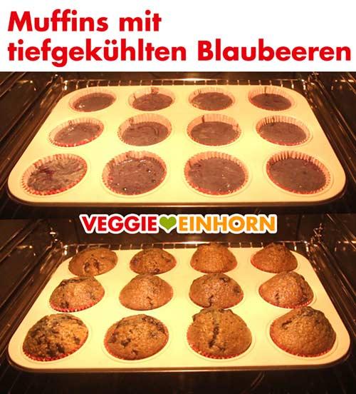 Muffins mit tiefgekühlten Blaubeeren im Ofen