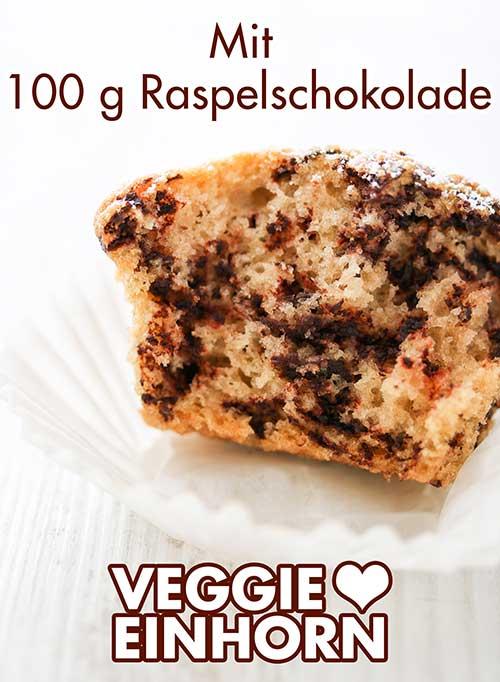 Ein Muffin ohne Ei mit Schokoraspeln