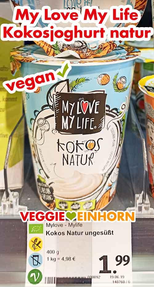 Ein Becher Kokosjoghurt Natur von My Love My Life im Regal bei denns Bio