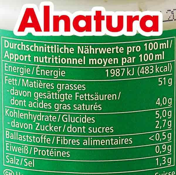 Nährwerte von veganer Mayo von Alnatura