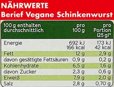 Kalorien und Nährwerte von veganer Fleischwurst von Berief