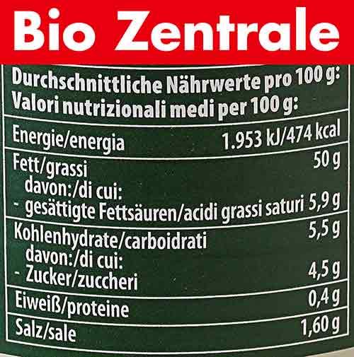 Nährwerte der veganen Mayonnaise von Bio Zentrale
