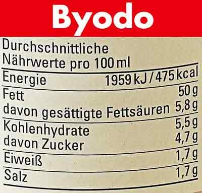 Nährwerte der veganen Mayonnaise von Byodo
