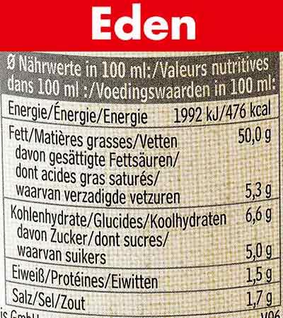 Nährwerte von Eden Vegane Salatmayonnaise