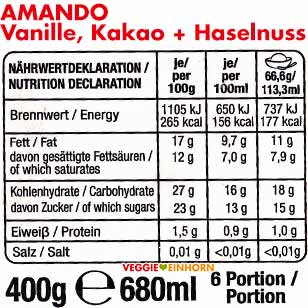Nährwerte Sammontana Amando Vanille, Kakao, Haselnuss