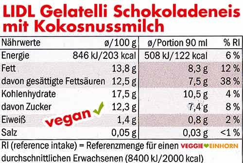 Kalorien und Nährwerte Lidl Schokoladeneis mit Kokosnussmilch