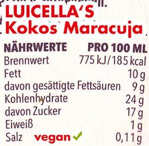 Nährwerte Kalorien Luicella's Kokos Maracuja