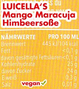 Nährwerte Kalorien Luicella's Mango Maracuja Himbeersoße
