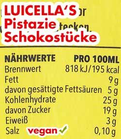 Nährwerte und Kalorien Luicella's Eis Pistazie Schokostücke