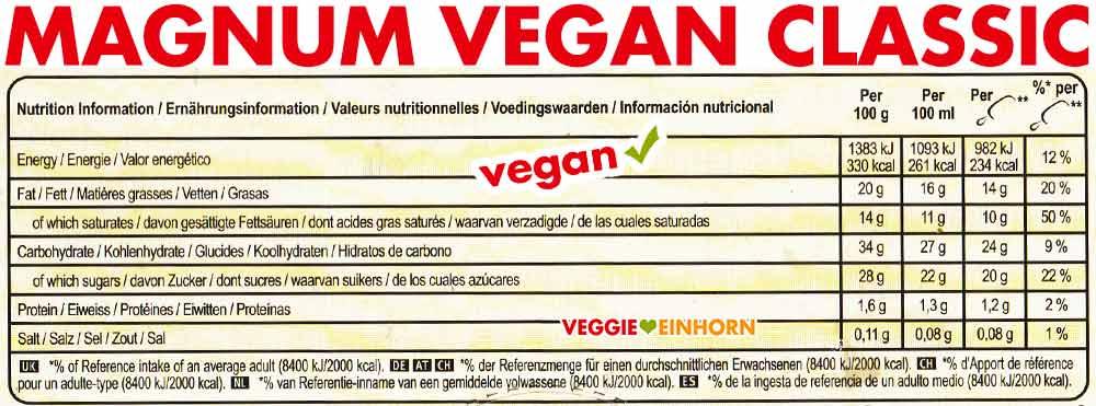 Magnum Vegan Classic Nährwerte Kalorien