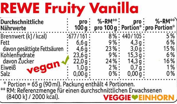 Rewe Eis Fruity Vanilla Kalorien