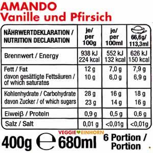 Amando Eis Vanille und Pfirsich - Kalorien und Nährwerte