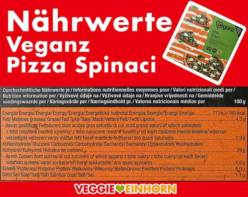 Nährwerte der Pizza Spinaci von Veganz