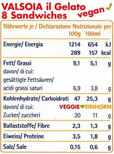 Nährwerte und Kalorien von Valsoia Eis Sandwiches
