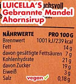Nährwerte Kalorien Luicella's Gebrannte Mandel Ahornsirup