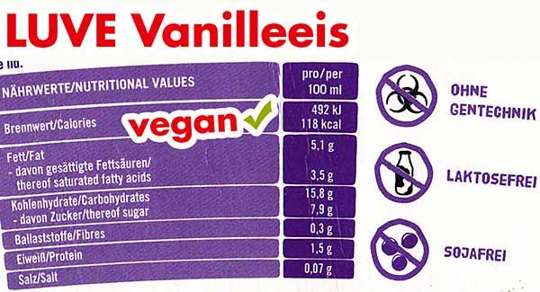 Nährwerte und Kalorien Luve Vanilleeis