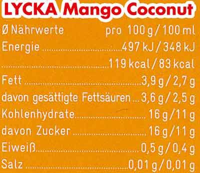 Nährwerte Lycka Mango Coconut Eis