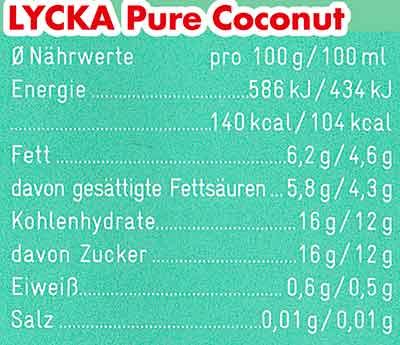 Nährwerte Lycka Pure Coconut Eis