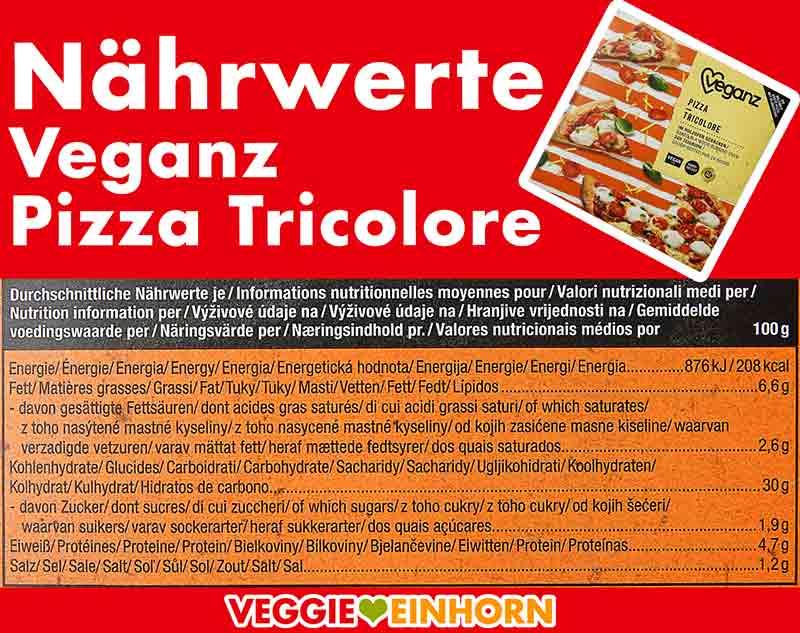Nährwerte der Veganz Pizza Tricolore