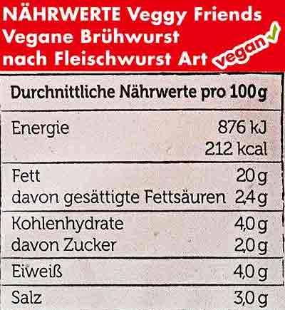 Nährwerte von Veggy Friends veganer Fleischwurst