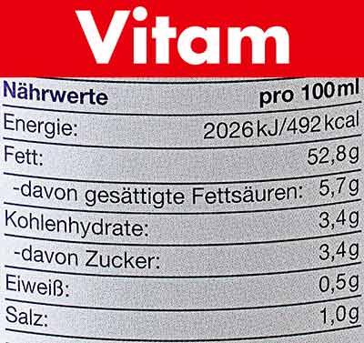 Nährwerte von Vitam Vegane Mayo