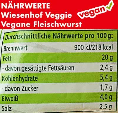 Nährwerte und Kalorien der veganen Fleischwurst von Wiesenhof