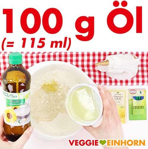 100 g neutrales Öl zufügen