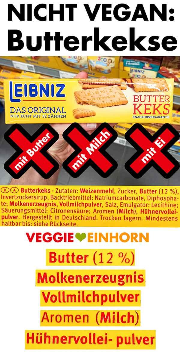 Eine Packung Leibniz Butterkekse im Supermarkt und die nicht veganen Zutaten