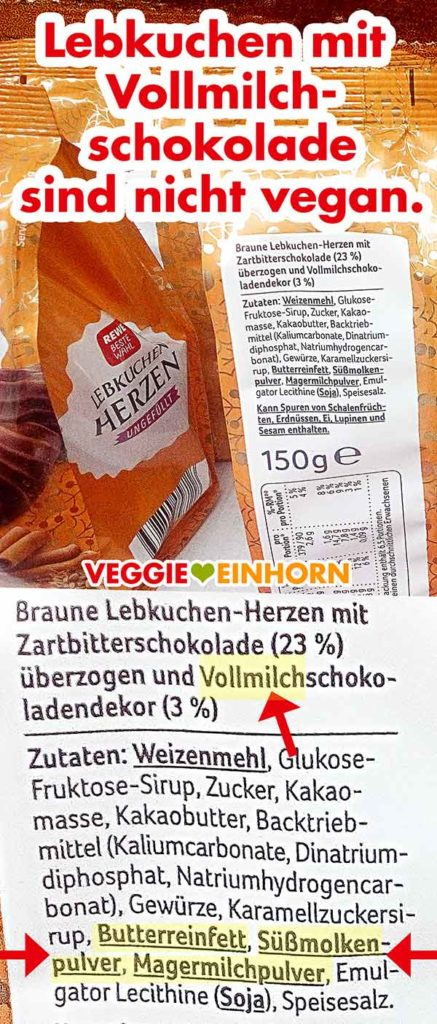 Nicht vegane Zutaten von Lebkuchen